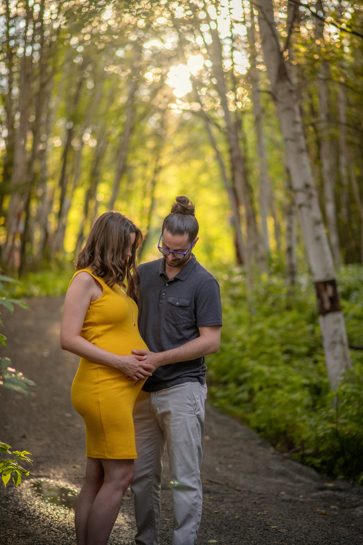 séance maternité, coucher de soleil, couple
